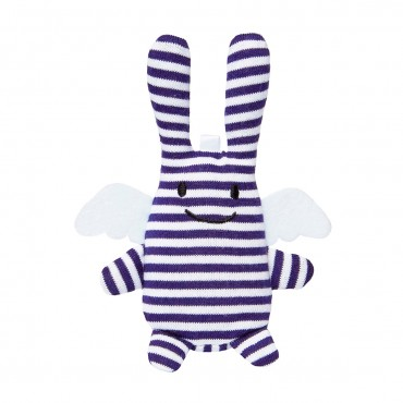 Angel Bunny w/Rattle Navy Stripes 12Cm