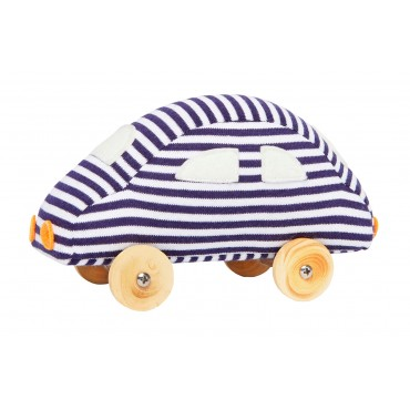 Small Car on Wheels Navy Stripes 13Cm