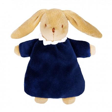 Soft Bunny Fluffy w/Rattle Navy Blue 20Cm