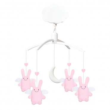 Musical Mobile Angel Bunny Pink