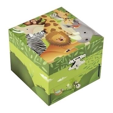 Coffret Musique Cube Jungle - Vert - Figurine Zèbre