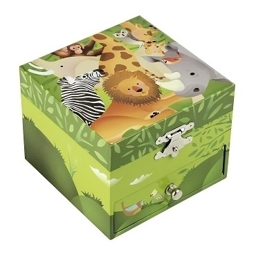 Musical Cube Box Jungle - Green - Figurine Zebra