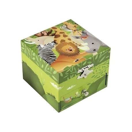 Musical Cube Box Jungle - Green - Figurine Zebra