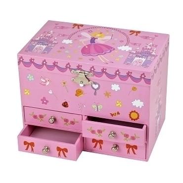 Boîte à Bijoux Musicale Fée & Château - Rose - Figurine Fée