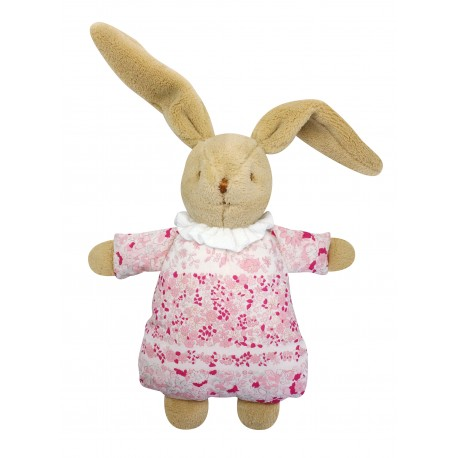 Soft Bunny Fluffy w/Rattle Pink Flowers 20Cm