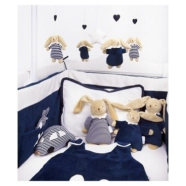 Soft Bunny Fluffy w/Rattle Navy Stripes 20Cm