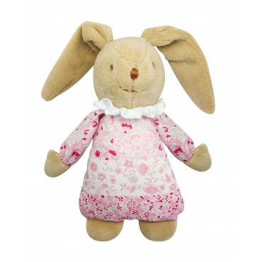 Lapin Nid d'Ange Doudou Musical - Fleurs Roses 25Cm