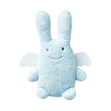 Ange Lapin Doudou avec Hochet - Bleu 20Cm
