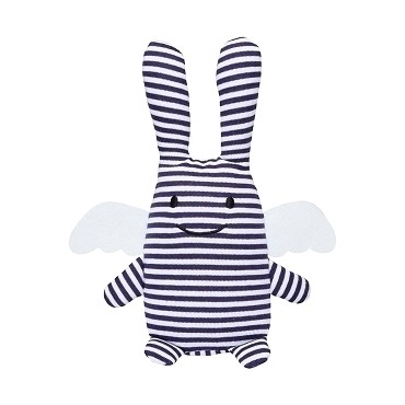 Angel Bunny Comforter with Rattle Navy 20Cm