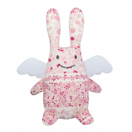 Musical Angel Bunny Pink Flowers 24Cm