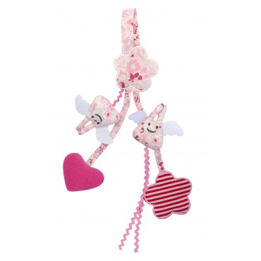 Pacifier Holder & Crib Rattle Toy Angel Bunny Pink Flowers 20Cm