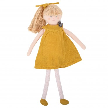 Doll with Curry Linen dress 30Cm