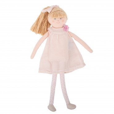 Doll with Pouder Pink Linen dress 30Cm