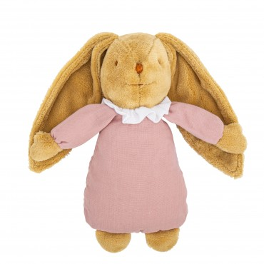 Musical Bunny Fluffy 25Cm - Old Pink Organic Cotton