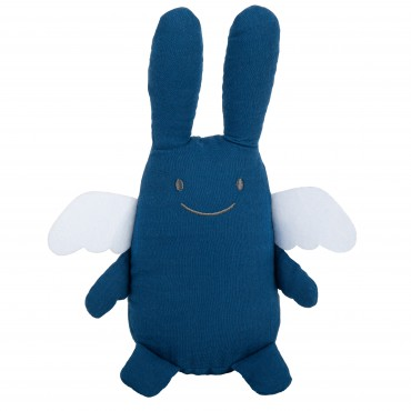 Ange Lapin Doudou Musical 24Cm - Coton Bio Bleu Denim