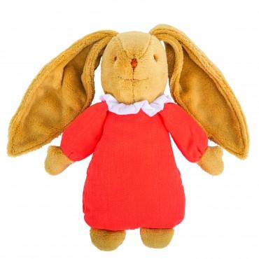 Musical Bunny Fluffy Comforter 25Cm - Orange Organic Coton