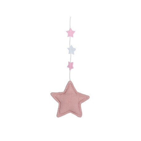 Musical Mobile Stars - Old Pink, Beige & Pouder Pink Linen