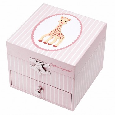 Photoluminescent Musical Cube Box Sophie the Giraffe© Navy Pink - Glow in dark