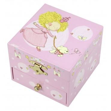 Musical Cube Box Princess & Her Dog - Figurine Princess