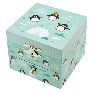 Boite à Musique Cube Phosphorescent Pingouin