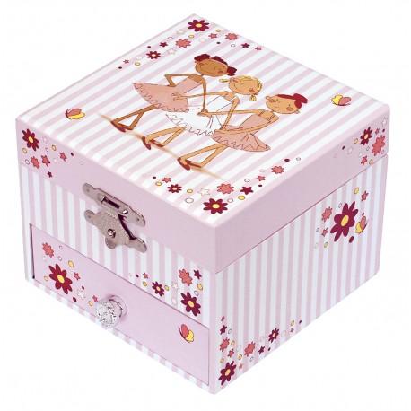 Photoluminescent Musical Cube Box Ballerina - Pink Stripes - Glow in dark