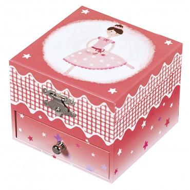 Boite à Musique Cube Phosphorescent Ballerine - Rose Foncé
