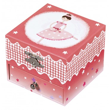 Photoluminescent Musical Cube Box Ballerina - Dark Pink - Glow in dark