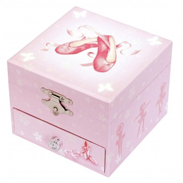 Photoluminescent Musical Cube Box Ballerina Shoes - Pink - Glow in dark