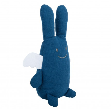 Ange Lapin Doudou avec Hochet 20Cm - Coton Bio Bleu Denim
