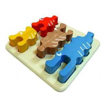 Puzzle 3D Crocodile - Assembler & Empiler - 18M+ Jouet en Bois