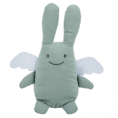 Musical Angel Bunny Comforter 24 Cm - Celadon Green Organic Cotton