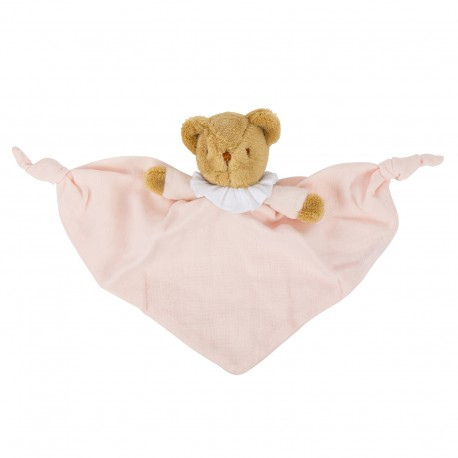 Bear Triangle Comforter with Rattle 20Cm - Pouder Pink Organic Coton