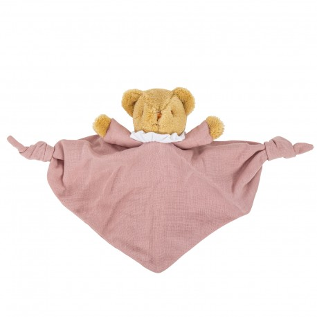 Bear Triangle Comforter with Rattle 20Cm - Old Pink Organic Coton