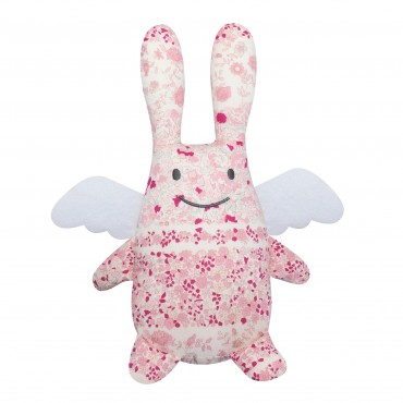 Angel Bunny Comforter with Rattle Pink Flowers 20Cm