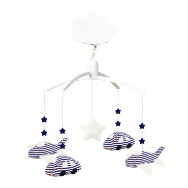 Musical Mobile Cars & Planes Navy Stripes