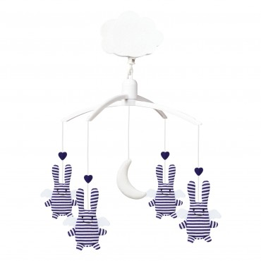 Musical Mobile Angel Bunny Navy Stripes