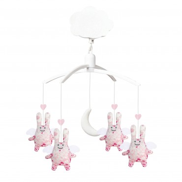 Musical Mobile Angel Bunny Pink Flowers