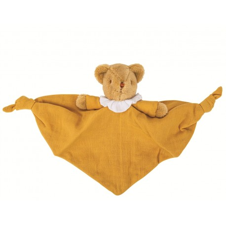 Bear Triangle Comforter with Rattle 20Cm - Curry Organic Coton