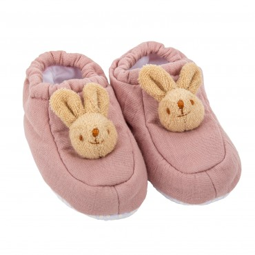 Slippers Bunny 0-2 years - Old Pink Organic Coton