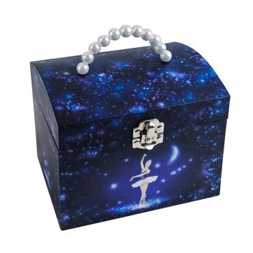 Grande Boite à Bijoux Musicale Danseuse Etoile - Vanity Case - Bleu Nuit