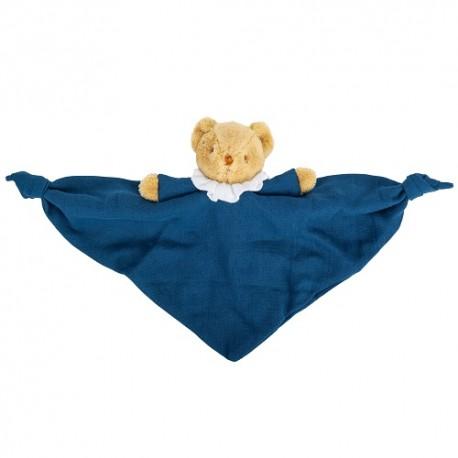 Bear Triangle Comforter with Rattle 20Cm - Blue Denim Organic Coton